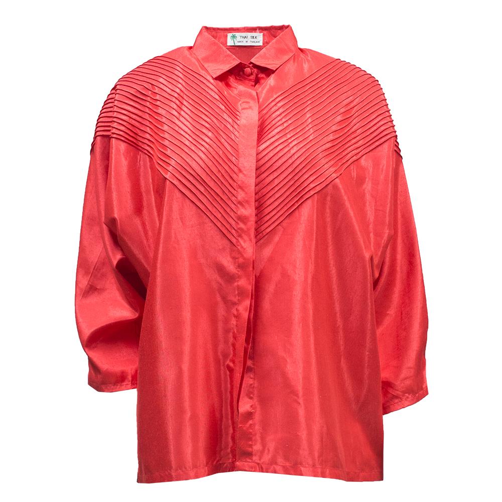 Thai Silk, punainen silkkipaita 80-luvulta - 38-42