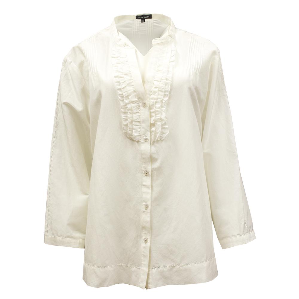 Tallay Moda, valkoinen puuvilla-silkkipusero – XL