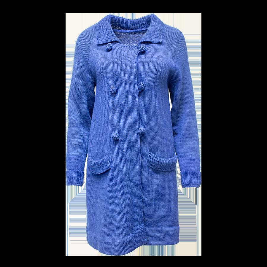 Sininen pitkä neuletakki - M