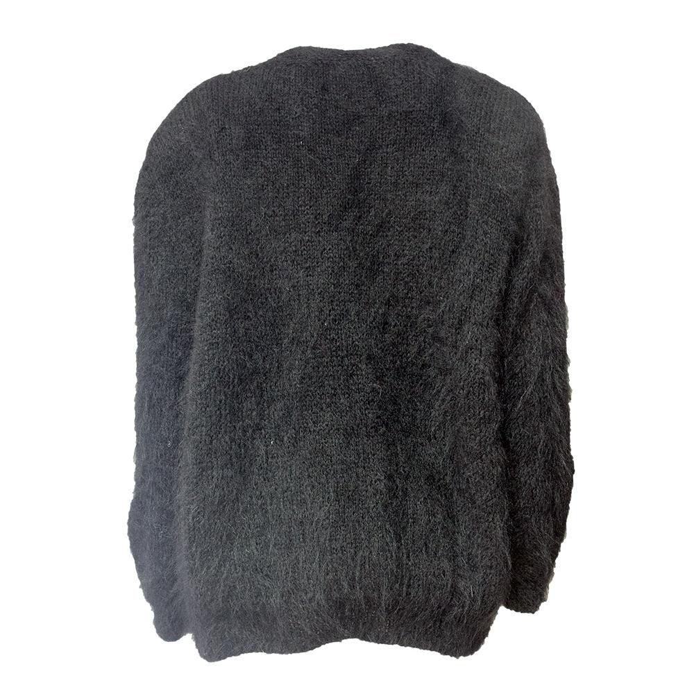 Muhkea käsin tehty musta villatakki - L