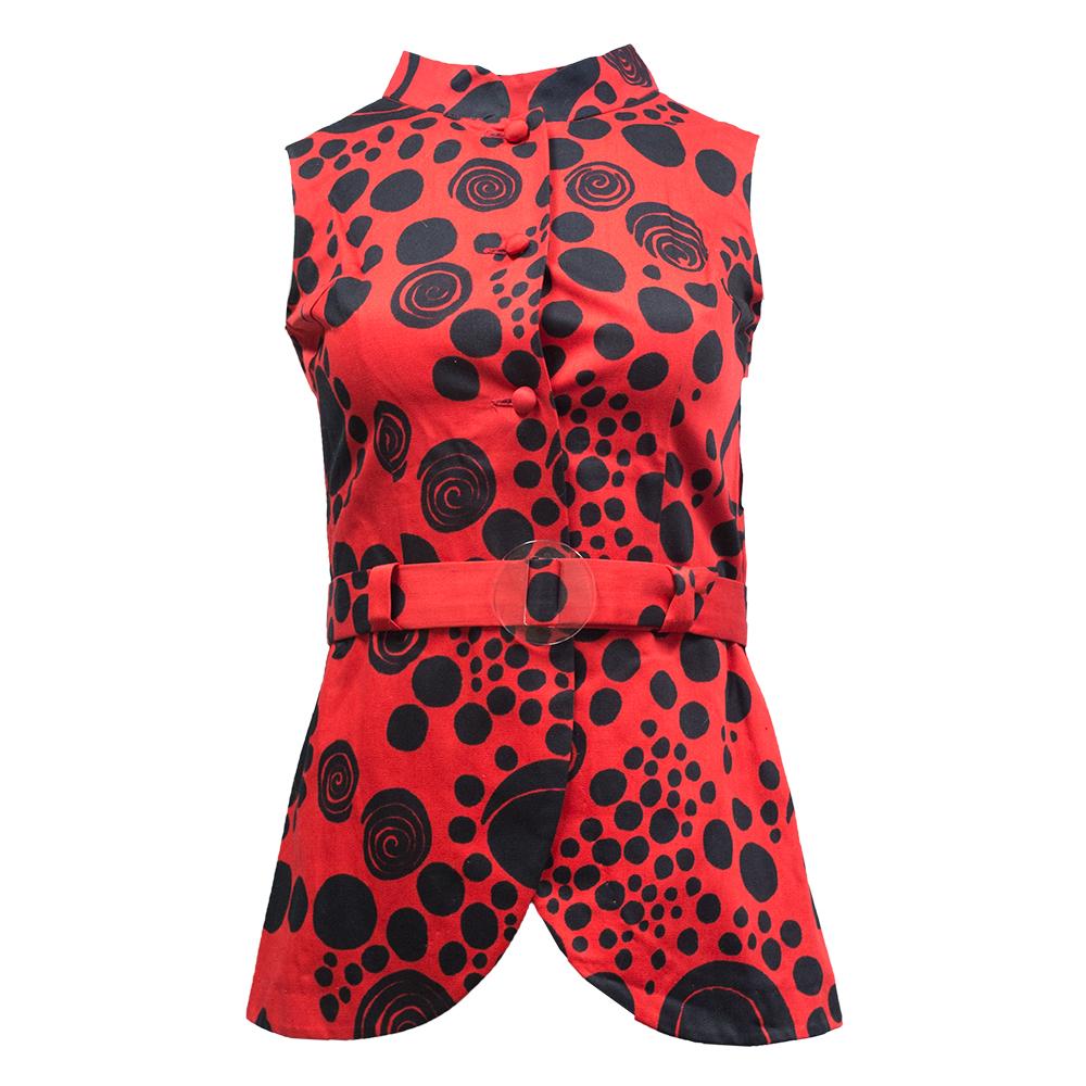 Naisten pukutehdas, punainen liivi 70-luvulta - 32/34