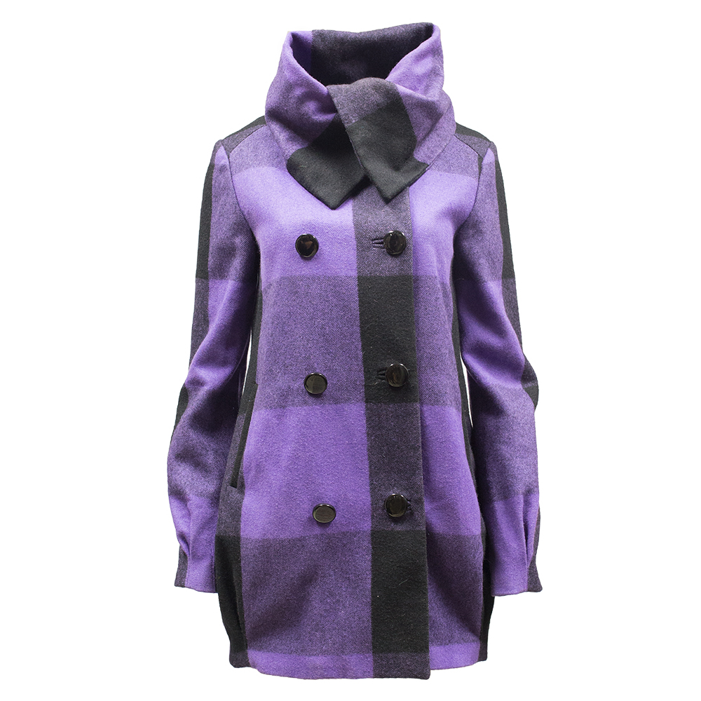 Modstörm, musta-violetti villakangastakki - S