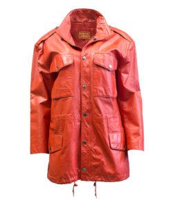Punainen nahkatakki 90-luvulta - M