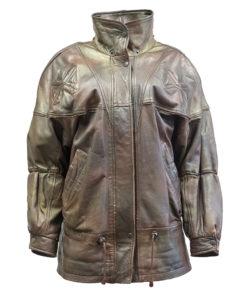Fidan Leather Factory, ruskea nahkatakki 80-luvulta - S-L
