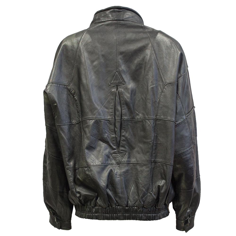 Musta Unisex-nahkatakki 80-luvulta - L
